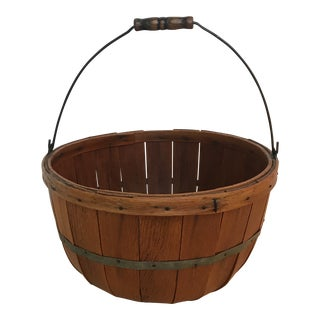 1950s Vintage Vermont Wooden Harvest Basket For Sale