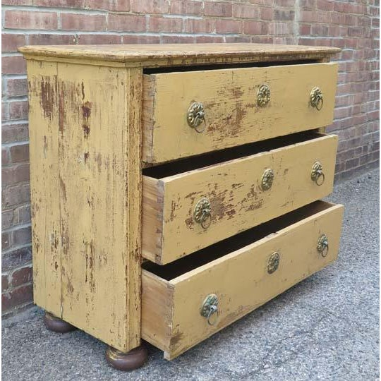 Antique French (c. 1860) Three Drawer Chest in Original Paint and Original Hardware. Flat Bun feet were added at a later...