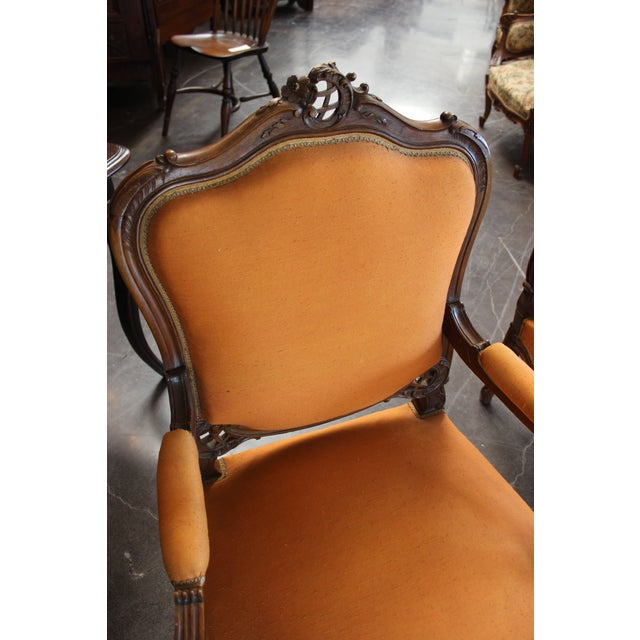 Antique Louis XV Style Armchair - a Pair For Sale - Image 9 of 13