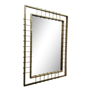 Industrial Modern Hand Forged Brushed Nickel Wall Mirror For Sale
