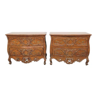 French Style Carved Commodes - A Pair