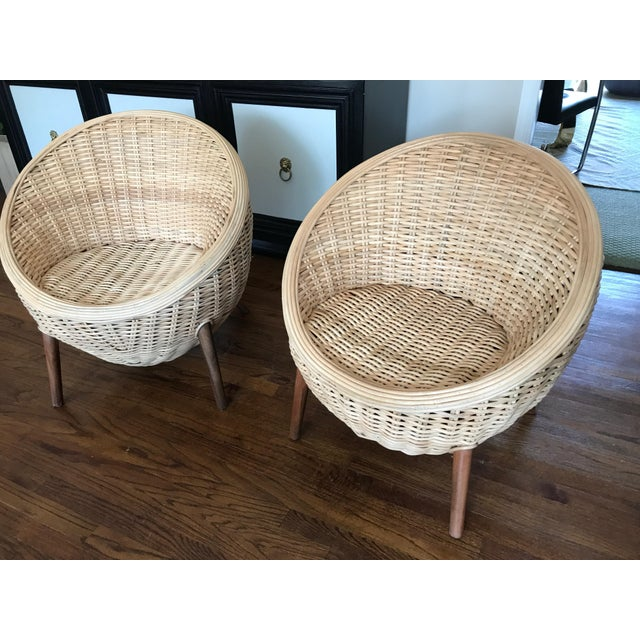 Rattan Barrel Tub Chairs Danish Modern Style With Wood Legs - Pair - Image 2 of 13