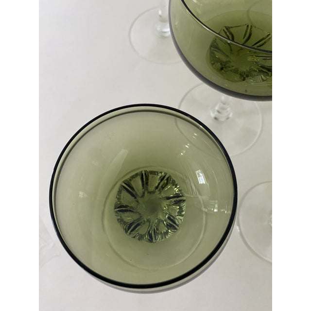 Traditional Green Twisted Stem Coups and After-Dinner Crystal Glasses - Set of 12 For Sale - Image 3 of 7