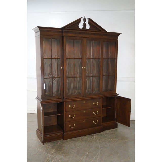Ethan Allen Georgian Court Solid Cherry Chippendale Style Breakfront - Image 8 of 10