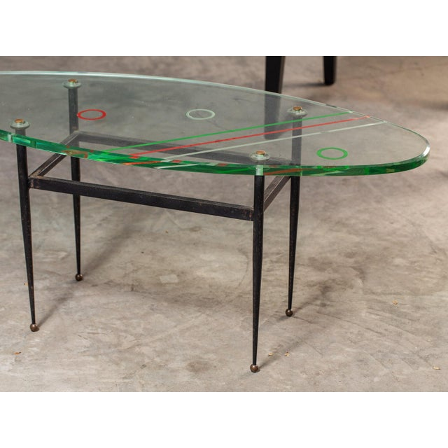 Vintage 1960s Italian Oval Coffee Table with Painted Glass Top For Sale - Image 9 of 13
