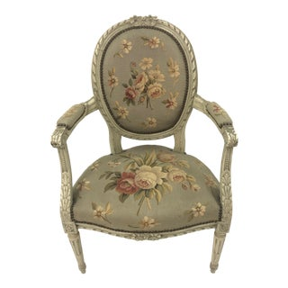 1920s Vintage French Style Louis XVI Painted Wood and Upholstered Armchair For Sale