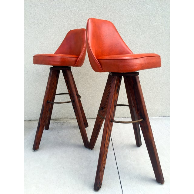 Mid-Century Modern Barstools in Orange - A Pair - Image 2 of 11