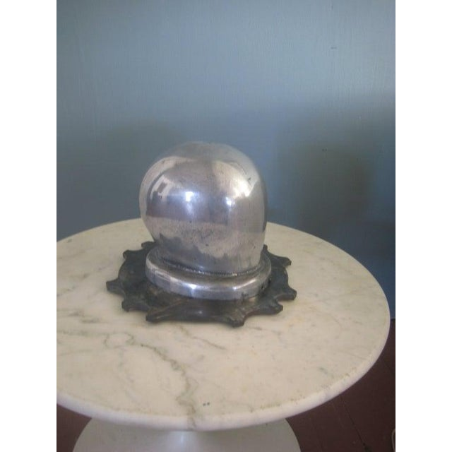 """Fantastic """"In the fast lane"""" art deco period cast aluminum head form resting on a steel dragster clutch plate base. Looks..."""