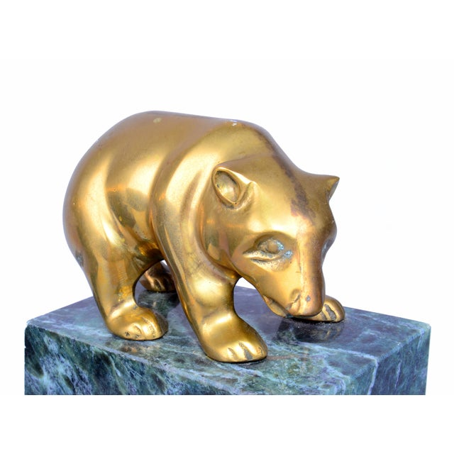 Traditional Vintage Brass Bull & Bear Bookends - A Pair For Sale - Image 3 of 10