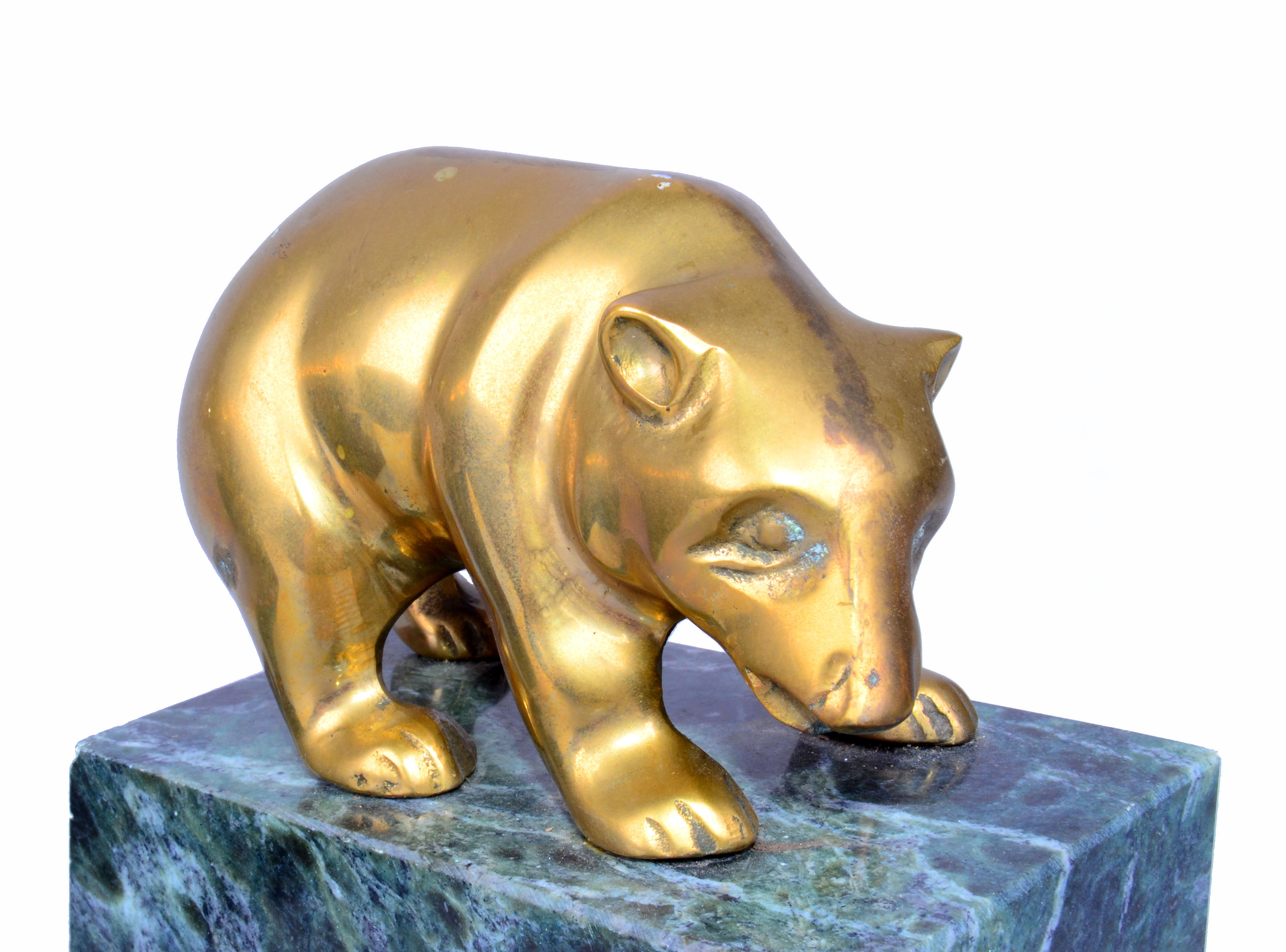Traditional Vintage Brass Bull U0026 Bear Bookends   A Pair For Sale   Image 3  Of