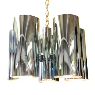 1960s Architectural Robert Long Chrome Chandelier For Sale