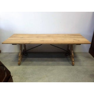 19th Century Spanish Farm Trestle Lyre Leg Dining Room Table With Forged Iron Preview