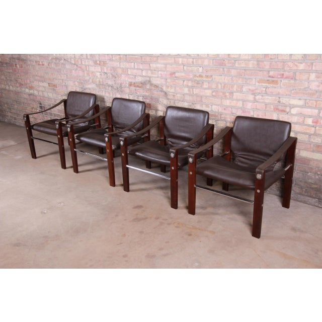 Mid 20th Century Maurice Burke for Pozza Mahogany and Leather Safari Chairs, Set of Four For Sale - Image 5 of 13