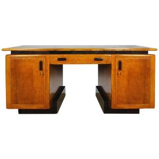 1920s Amsterdam School Desk, oakwood, Macassar ebony, leather. Netherlands For Sale