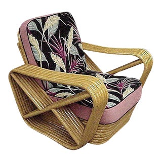 Restored Paul Frankl Style Six-Strand Square Pretzel Rattan Lounge Chair