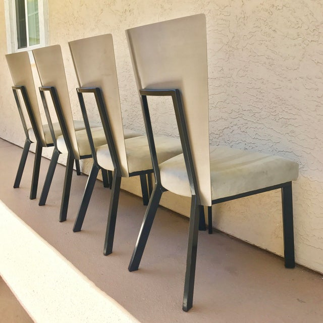 Modern Curved Aluminum & Suede Dining Chairs - Set of 4 - Image 3 of 7