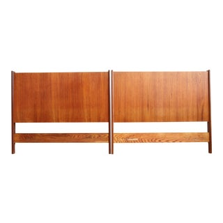Danish Twin Mid-Century Walnut Headboards - A Pair