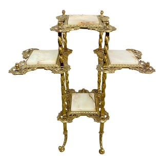 Antique Victorian Brass Anxx DC White Onyx Flower/Plant Stand For Sale