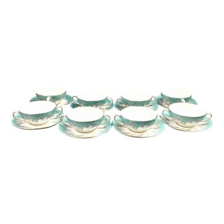"Wedgwood ""Buxton"" Gold Trim Turquoise and Gray Leaf Banded Bone China Soup Cups & Matching Saucers - Set of 16 For Sale"
