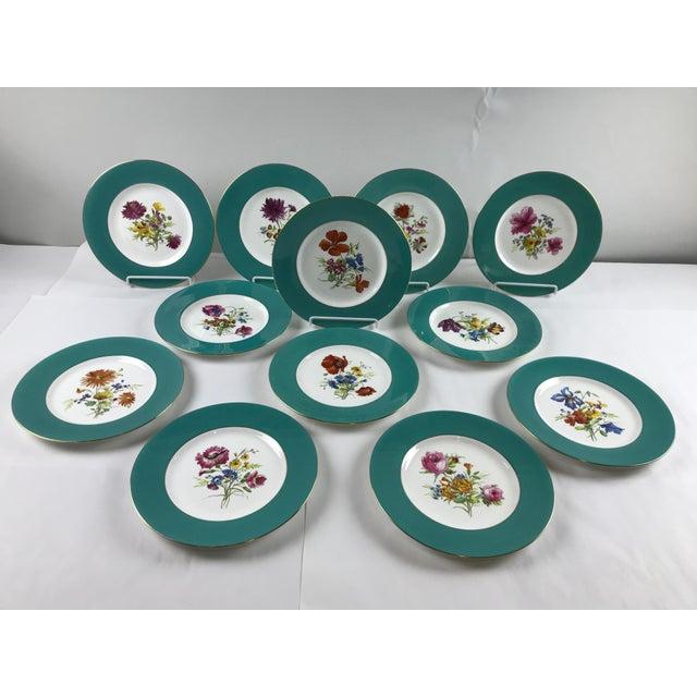 Signed J. Colclough Minton H4780 Hand Painted Floral Aqua Rim Plates - Set of 12 For Sale - Image 13 of 13