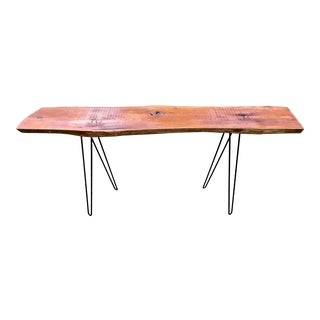 Live Edge Console Table W / Hairpin Legs For Sale