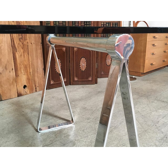 Aluminum Mid-Century Modern Mirrored Polished Aluminium Sawhorse Table Desk For Sale - Image 7 of 11