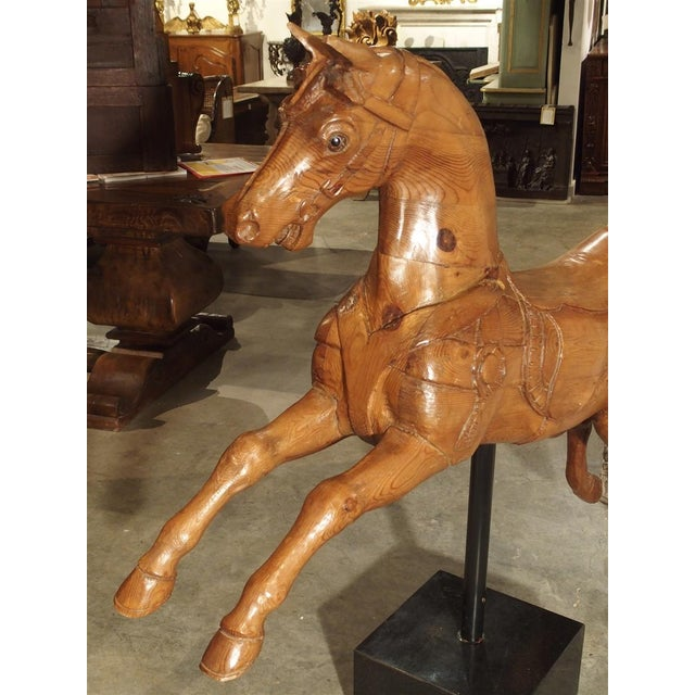 Brown Circa 1900 Wooden Jumping Horse on Stand From Barcelona Spain For Sale - Image 8 of 13