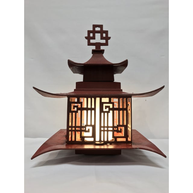 Underwriters Laboratories Metal Outdoor Pagoda Lattice Sconces - A Pair For Sale - Image 4 of 13
