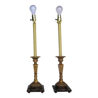 1960s Hollywood Regency Candle Stick Motif Lamps - a Pair For Sale