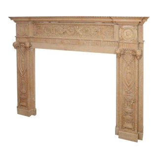 19th Century Edwardian Carved Sienna Marble Mantel