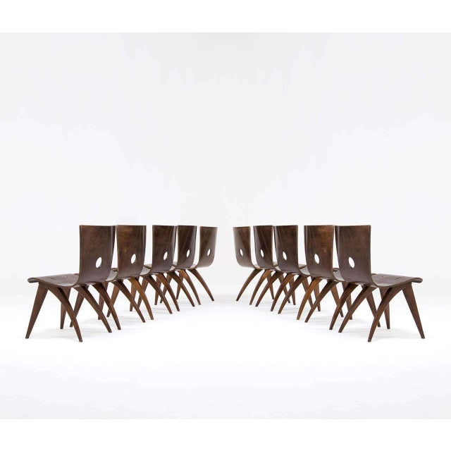 1950s Vintage Van Os Bent Plywood Walnut Dining Chairs - Set of 8 For Sale - Image 5 of 5