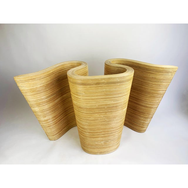 Pencil Reed Bamboo Curvy Ribbon Scroll Console Aft Gabriella Crespi For Sale - Image 10 of 13