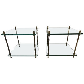 Pair of 1960s Glass and Brass Side Tables For Sale