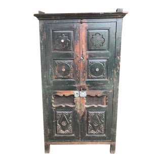 Vintage Distressed Indian Armoire For Sale
