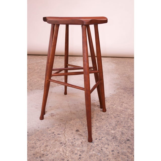 Vintage Solid Walnut Studio Craft Bar Stools by David Scott - a Pair For Sale In New York - Image 6 of 13