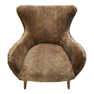 Boho Velvet Tufted Leopard Chair For Sale