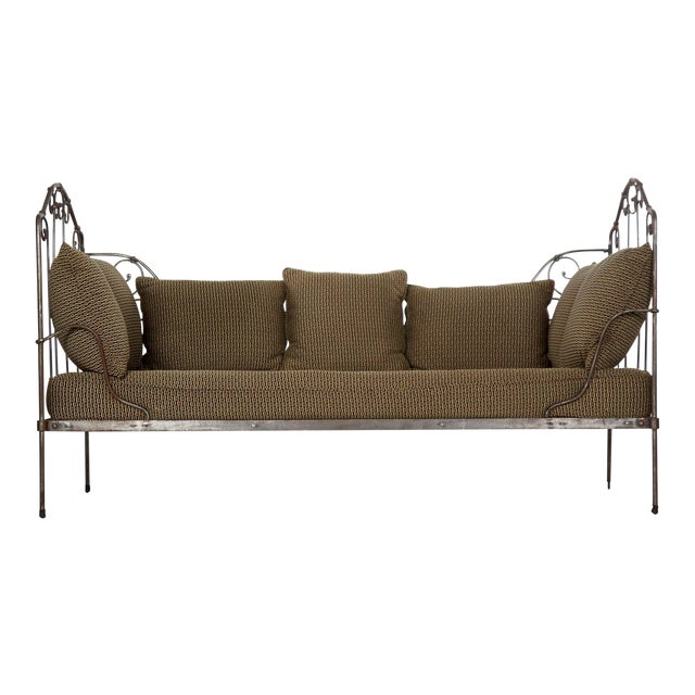 Antique French Wrought Iron Campaign Style Daybed Sofa For Sale