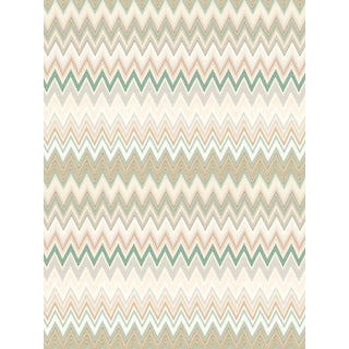 Scalamandre Zig Zags, Teal Bisque Wallpaper For Sale