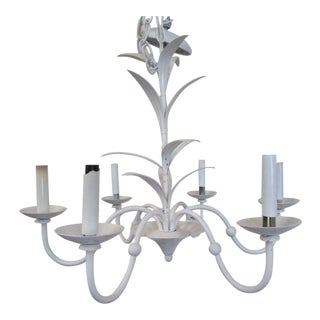 Petite White Tole Chandelier For Sale