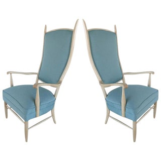 Mid-Century Modern Curved Blue Tall Back Chairs by Paolo Buffa - A Pair