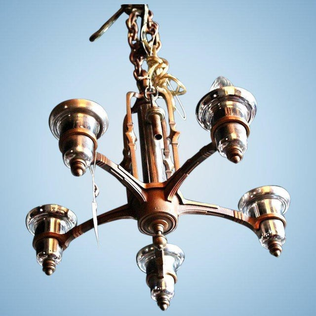 Treat yourself to this exquisite Art Deco five-arm bronze and polished  nickel chandelier, - Antique Art Deco 5 Arm Bronze Nickel Chandelier Chairish