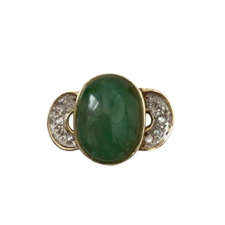 18k Gold Jade and Diamond Ring For Sale