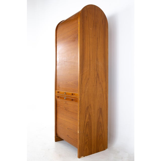 Mid Century Teak Tambour Door Upright Storage Credenza For Sale In Chicago - Image 6 of 13