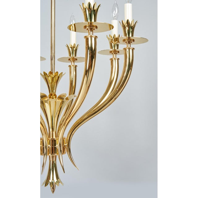 Gio Ponti Important Geometric 8-Arm Chandelier in Polished Brass, Italy 1930s For Sale - Image 10 of 11