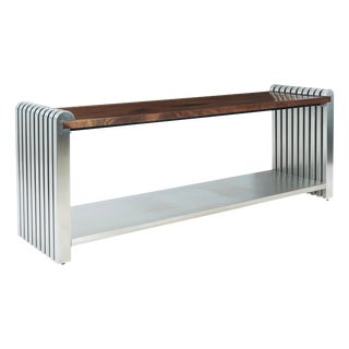 1980s Modern Jay Spectre Stainless Steel and Walnut Console Table For Sale