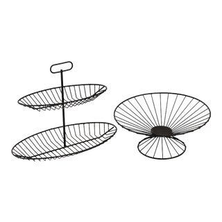 Raymor 1950s Black Wire Serving Stand and Bowl - 2 Pieces For Sale