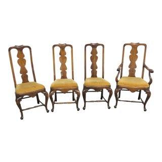 Italian Walnut Dining Chairs - Set of 4 For Sale