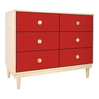Lukka Modern Kids 6-Drawer Dresser in Maple With Red Finish For Sale
