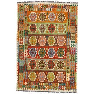 Afghan Kilim Handspun Wool Rug - 5′8″ × 8′2″ For Sale