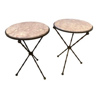 1940s Campaign Brass Faux Bamboo and Marble Top Side Tables - a Pair For Sale